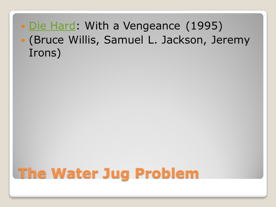 Examples Water jug was data driven Grandfather problem was goal driven To make water jug goal driven: ◦Begin at (2,y) ◦Determine how many rules could produce this goal ◦Follow these rules backwards to the start state