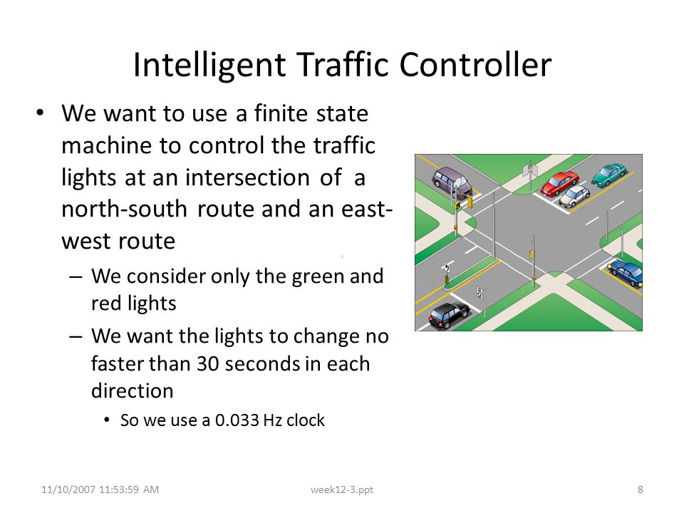 11/10/2007 11:53:59 AMweek12-3.ppt8 Intelligent Traffic Controller We want to use a finite state machine to control the traffic lights at an intersect