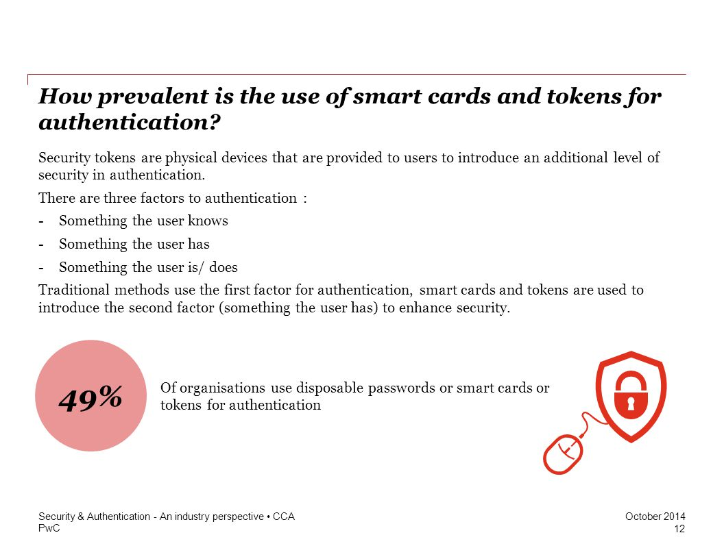 PwC October 2014 How prevalent is the use of smart cards and tokens for authentication? 12 Security & Authentication - An industry perspective CCA Sec
