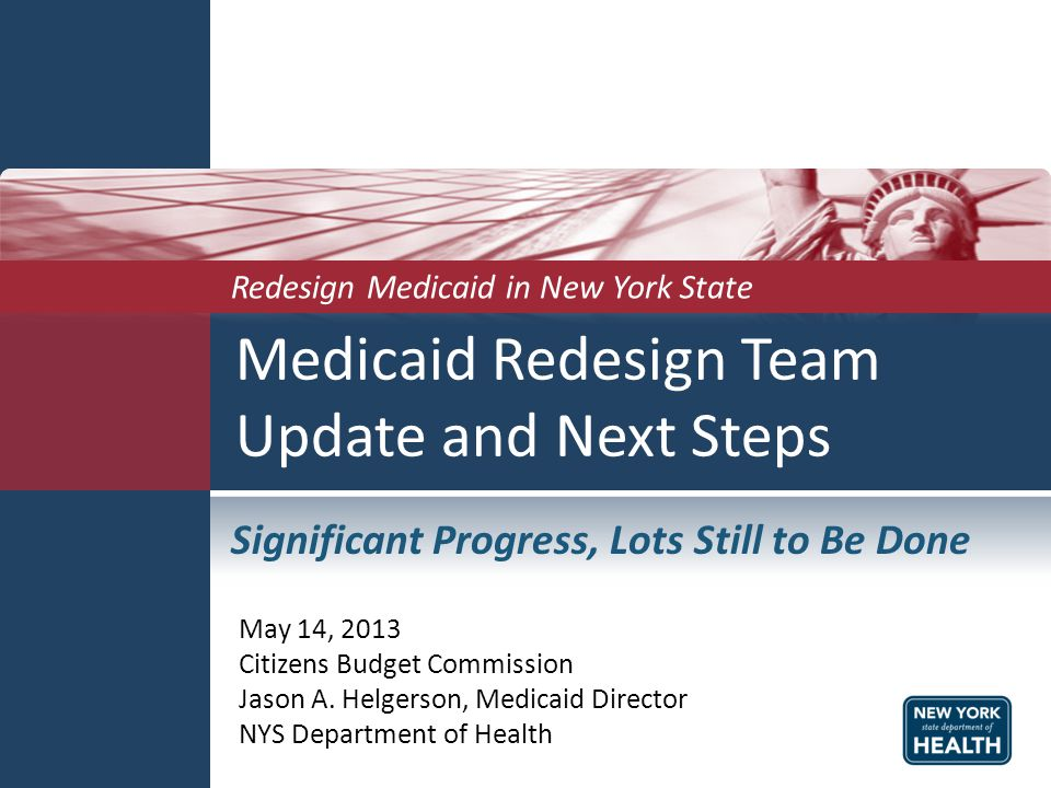 NY Total Medicaid Spending Statewide for All Categories of Service Under the Global Spending Cap (2003-2012) 2003200420052006200720082009201020112012 # of Recipients 4,266,535 4,593,5664,732,5634,729,1664,621,9094,656,354 4,910,511 5,211,511 5,396,521 5,578,143 Cost per Recipient $7,635$7,658$7,787$7,710$8,158$8,464$8,493$8,379$8,261$7,864 Projected Spending Absent MRT Initiatives * *Projected Spending Absent MRT Initiatives was derived by using the average annual growth rate between 2003 and 2010 of 4.28%.