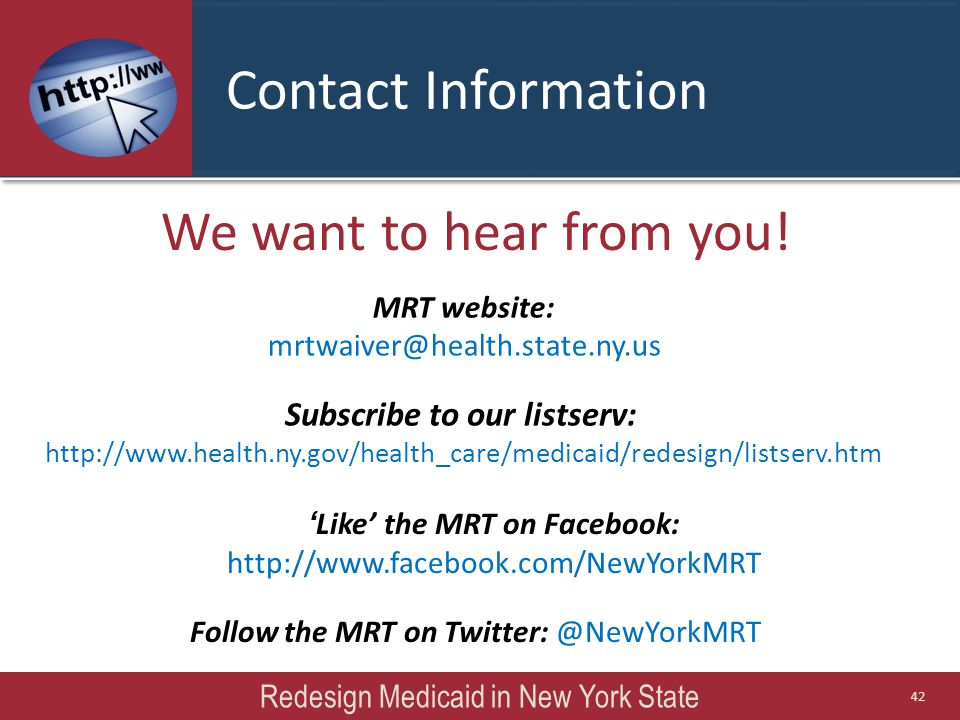 We want to hear from you! ' Like' the MRT on Facebook: http://www.facebook.com/NewYorkMRT Follow the MRT on Twitter: @NewYorkMRT Subscribe to our list