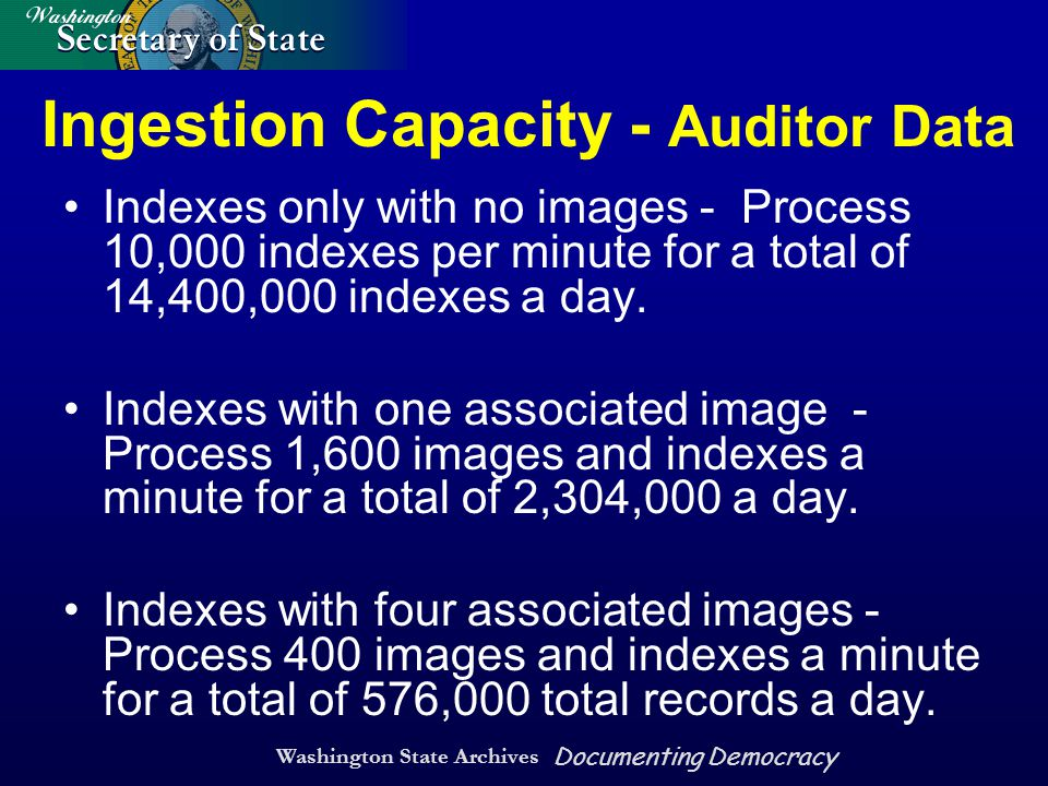 Washington State Archives Documenting Democracy Ingestion Capacity - Auditor Data Indexes only with no images - Process 10,000 indexes per minute for a total of 14,400,000 indexes a day.