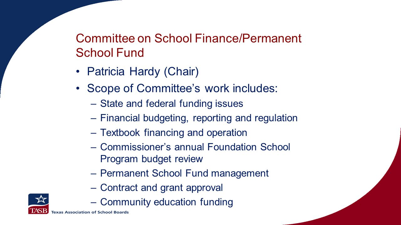 Committee on School Initiatives Donna Bahorich (Chair) Scope of Committee's work includes: –Participation in the selection of open-enrollment charter schools –Teacher and administrator certification and ethics –School board member training policy –Extracurricular activities –Appointment of school board members on military bases