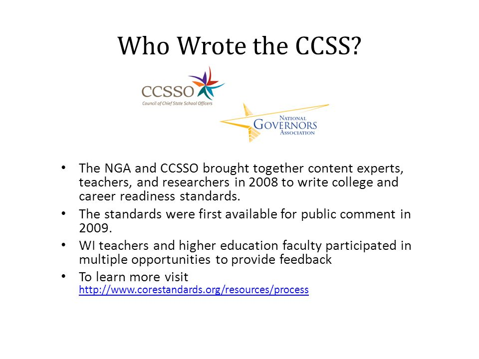 Who Wrote the CCSS.