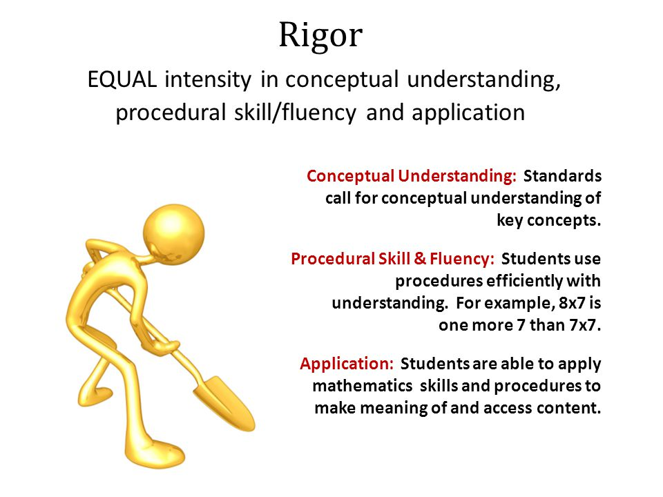 Rigor EQUAL intensity in conceptual understanding, procedural skill/fluency and application Conceptual Understanding: Standards call for conceptual understanding of key concepts.