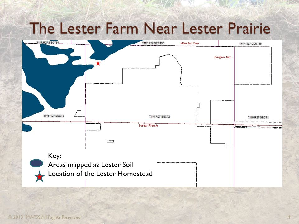 The Lester Farm Near Lester Prairie Key: Areas mapped as Lester Soil Location of the Lester Homestead © 2013 MAPSS All Rights Reserved4