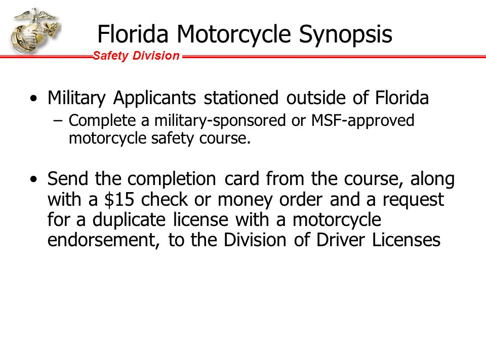 Safety Division Counterfactuals While military riders may exist in higher concentrations around bases, and motorcycle riders represent a higher percen