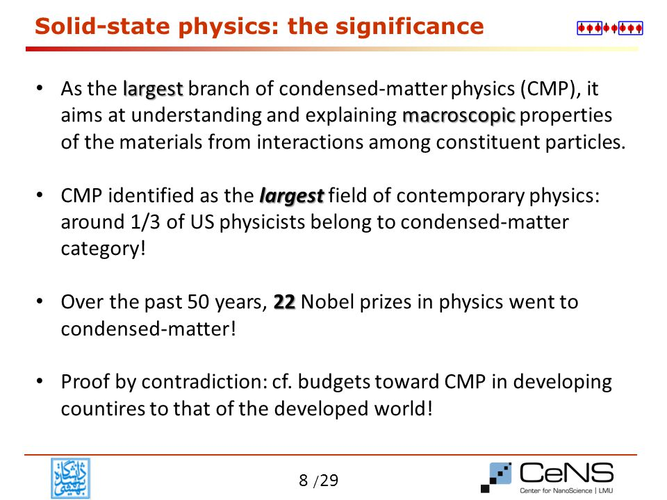 / 29 Solid-state physics and emerging technologies Semiconductor technlogy: Transistor and integrated circuits technology Superconductor technologies: SQUID 2007 s physics Nobel prize for hard disk technology Graphene (Nobel prize in physics 2010) The tsunami of Nanotechnology: phase-coherent contorl of nature at nano-scale Quantum dots: Artificial atoms 9