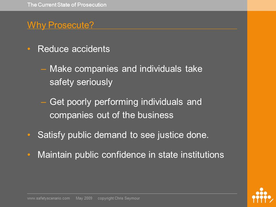 www.safetyscenario.com May 2009 copyright Chris Seymour The Current State of Prosecution New South Wales Prosecutions Average time from incident to settlement 59 months.