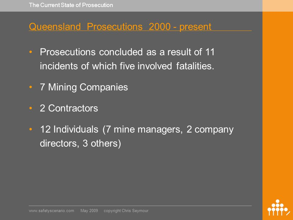 www.safetyscenario.com May 2009 copyright Chris Seymour The Current State of Prosecution Queensland Prosecutions 2000 - present Prosecutions concluded as a result of 11 incidents of which five involved fatalities.