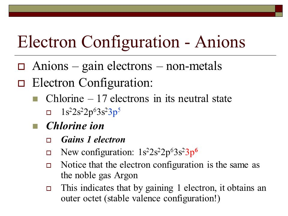 Electron Configuration  Both ions obtain a noble gas configuration  This makes the ion and the noble gas isoelectronic  Isoelectronic: when two elements and/or ions have the same electronic configurations with one another  They tend to have similar chemical properties.