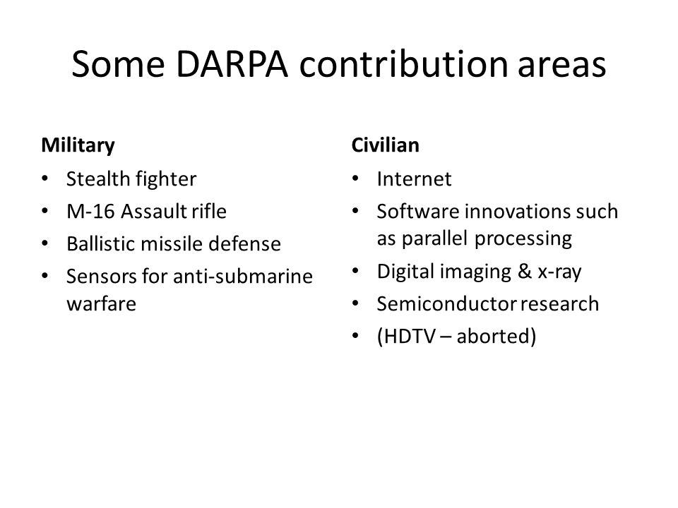 Some DARPA contribution areas Military Stealth fighter M-16 Assault rifle Ballistic missile defense Sensors for anti-submarine warfare Civilian Intern