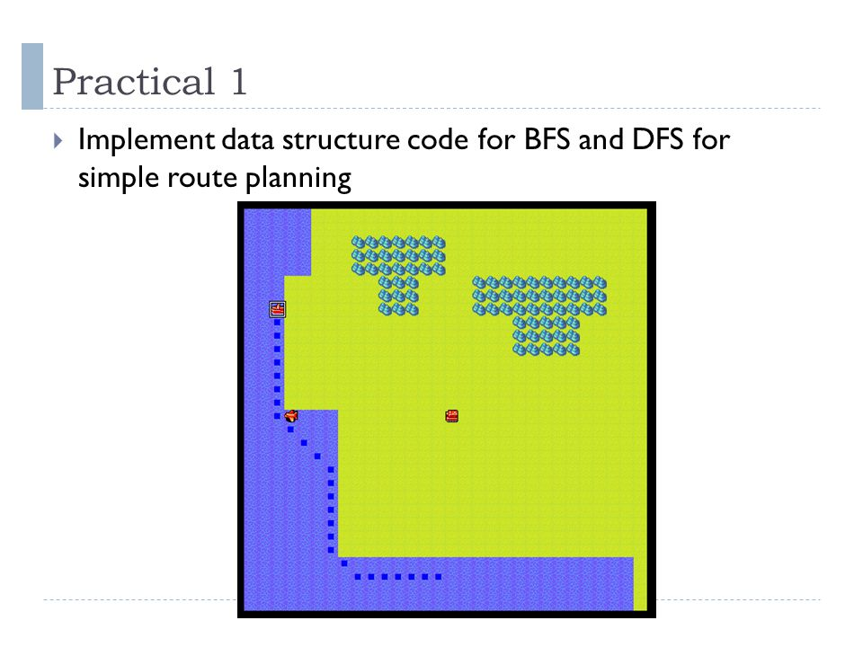 Practical 1  Implement data structure code for BFS and DFS for simple route planning