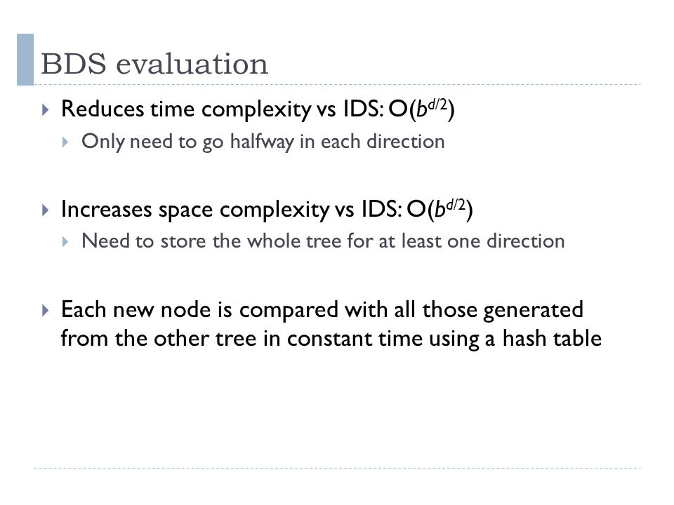 BDS evaluation  Reduces time complexity vs IDS: O(b d/2 )  Only need to go halfway in each direction  Increases space complexity vs IDS: O(b d/2 )