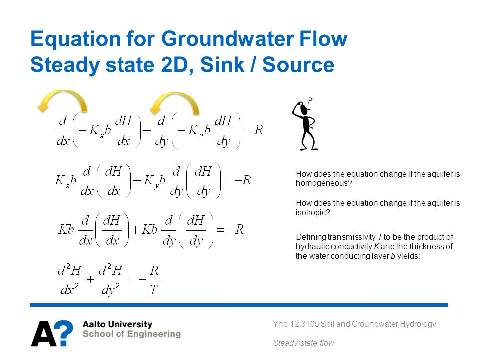 Yhd-12.3105 Soil and Groundwater Hydrology Steady-state flow Equation for Groundwater Flow Steady state 2D, Sink / Source How does the equation change