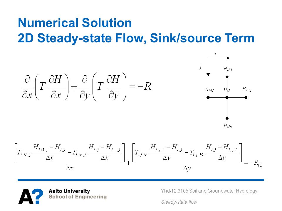 Yhd-12.3105 Soil and Groundwater Hydrology Steady-state flow Numerical Solution 2D Steady-state Flow, Sink/source Term i j