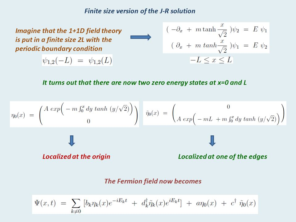 Finite size version of the J-R solution Imagine that the 1+1D field theory is put in a finite size 2L with the periodic boundary condition It turns ou