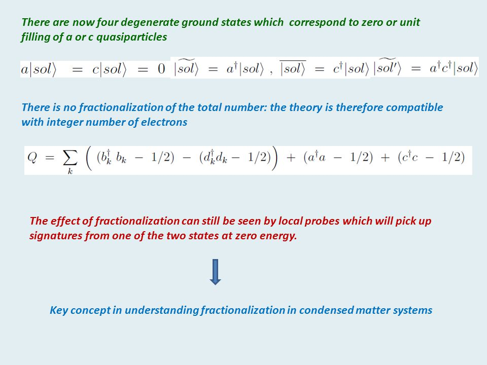 There are now four degenerate ground states which correspond to zero or unit filling of a or c quasiparticles There is no fractionalization of the tot