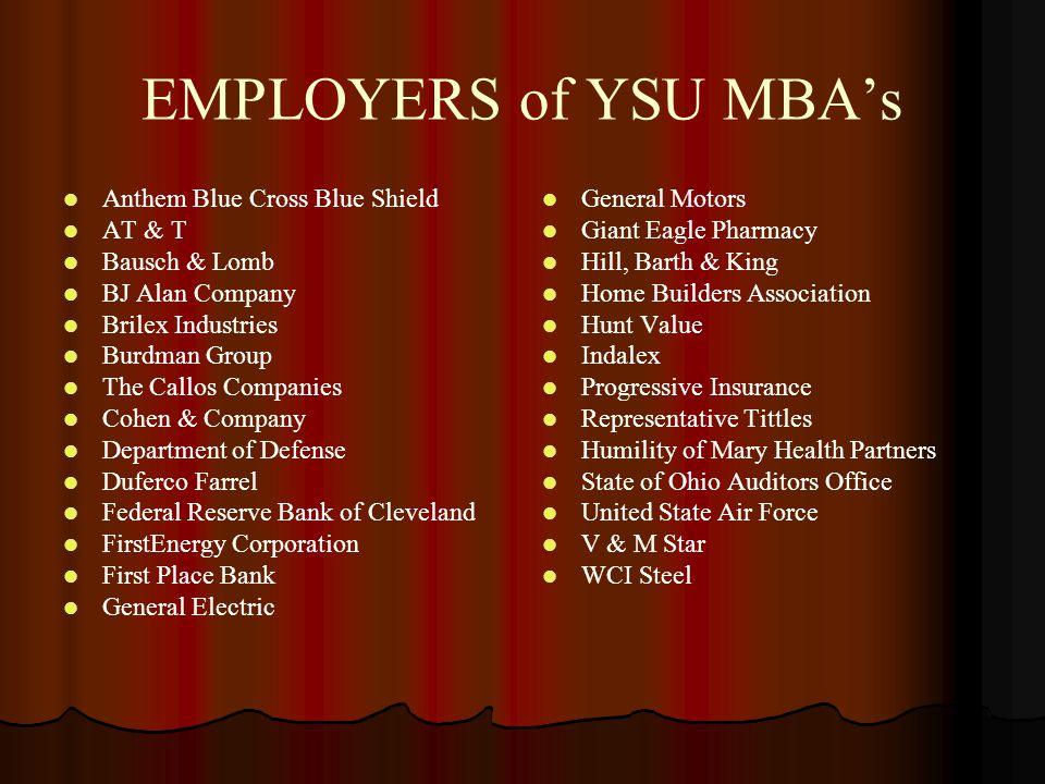 EMPLOYERS of YSU MBA's Anthem Blue Cross Blue Shield AT & T Bausch & Lomb BJ Alan Company Brilex Industries Burdman Group The Callos Companies Cohen &