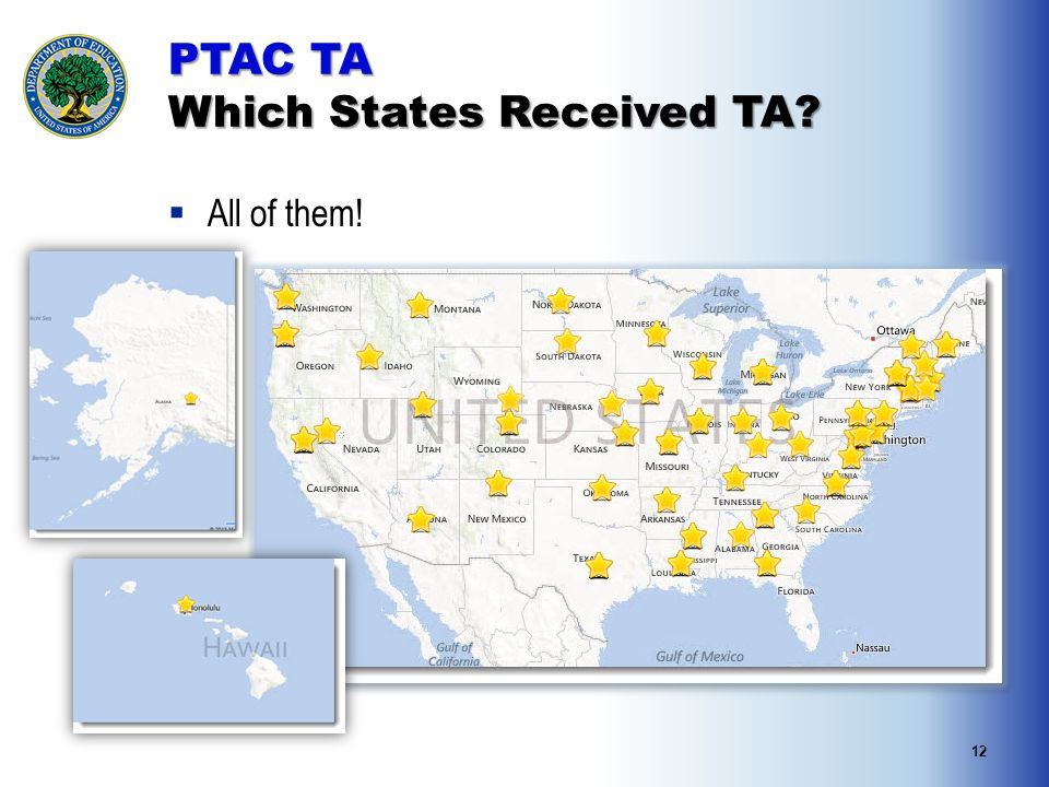 12 PTAC TA Which States Received TA  All of them!
