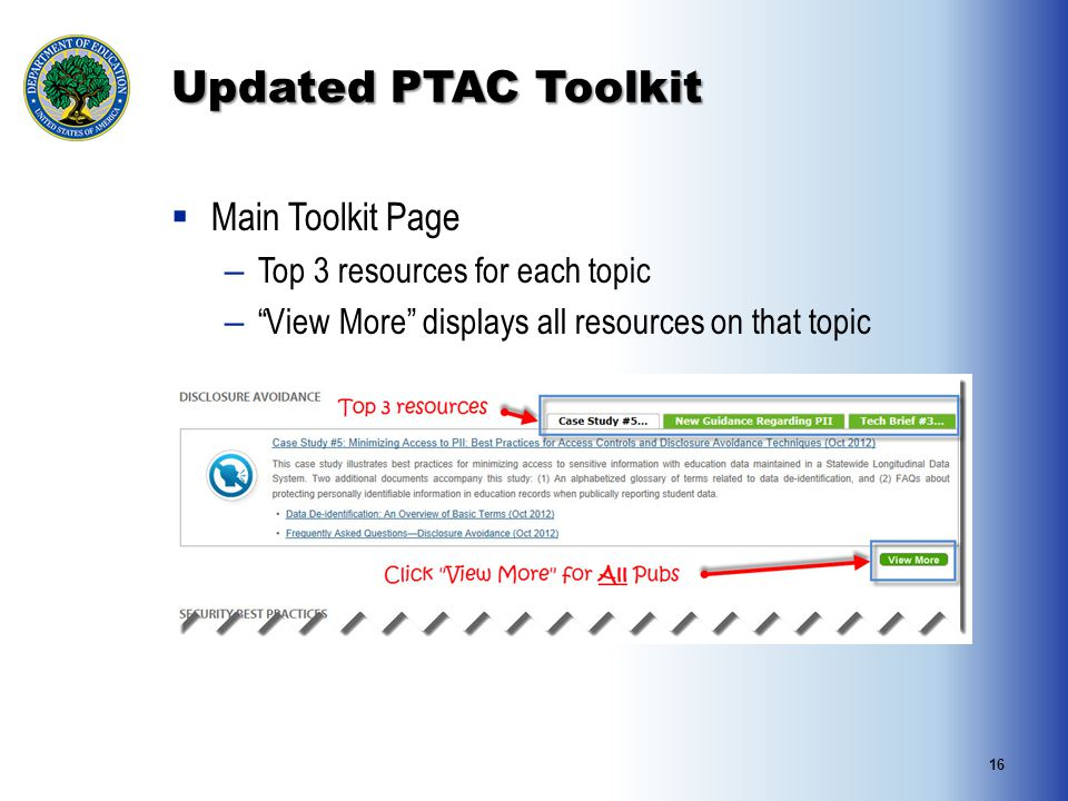 16 Updated PTAC Toolkit  Main Toolkit Page – Top 3 resources for each topic – View More displays all resources on that topic
