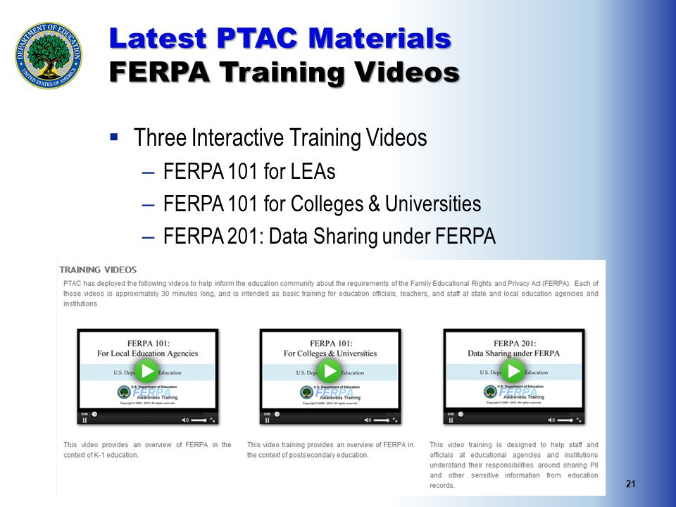 21 Latest PTAC Materials FERPA Training Videos  Three Interactive Training Videos – FERPA 101 for LEAs – FERPA 101 for Colleges & Universities – FERPA 201: Data Sharing under FERPA