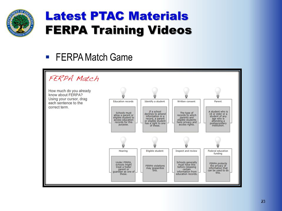 23 Latest PTAC Materials FERPA Training Videos  FERPA Match Game