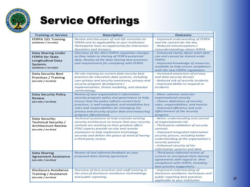 Service Offerings 27