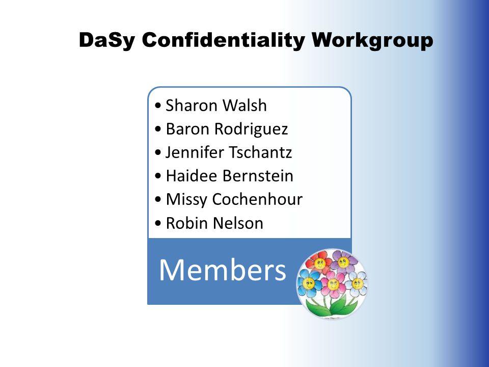 Sharon Walsh Baron Rodriguez Jennifer Tschantz Haidee Bernstein Missy Cochenhour Robin Nelson Members DaSy Confidentiality Workgroup