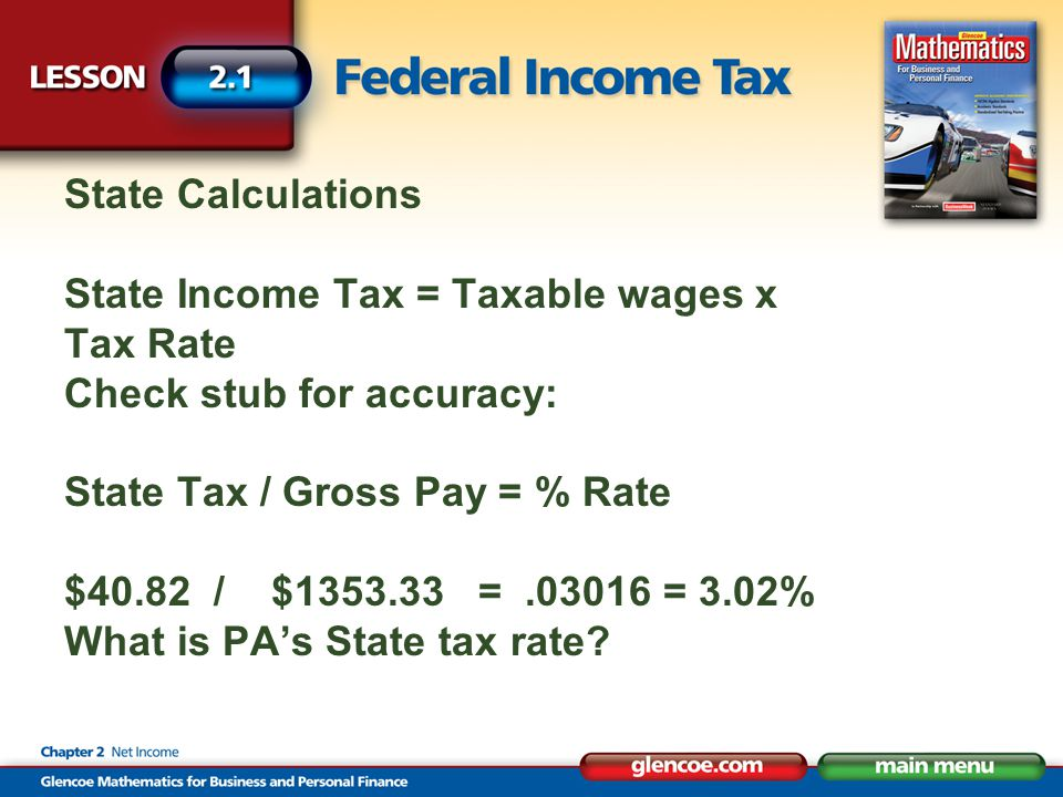 State Calculations State Income Tax = Taxable wages x Tax Rate Check stub for accuracy: State Tax / Gross Pay = % Rate $40.82 / $1353.33 =.03016 = 3.0