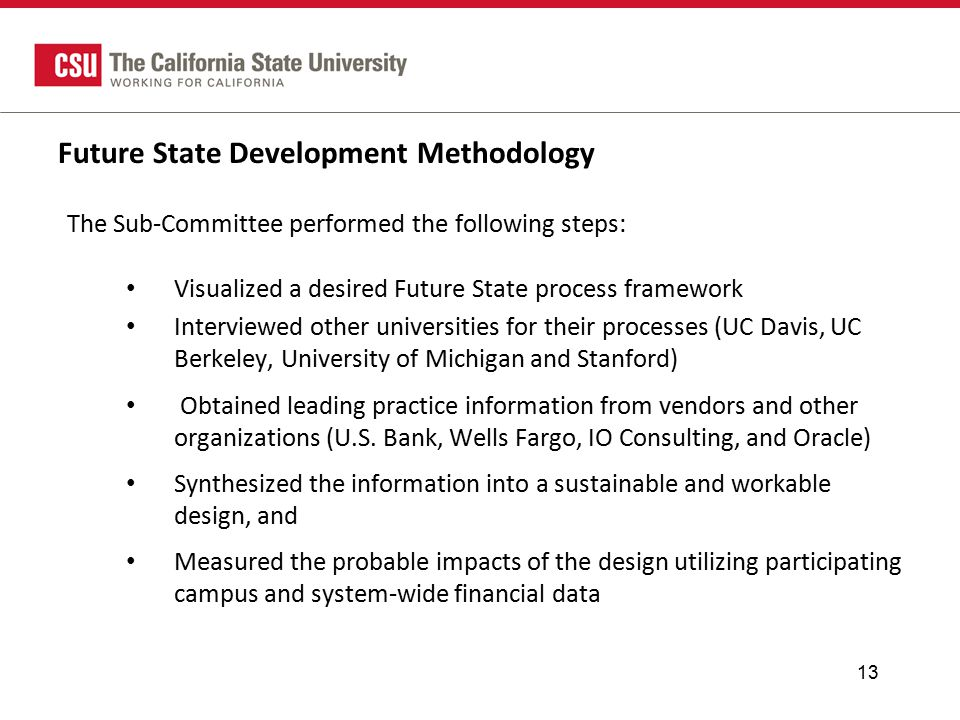 Future State Development Methodology The Sub-Committee performed the following steps: Visualized a desired Future State process framework Interviewed other universities for their processes (UC Davis, UC Berkeley, University of Michigan and Stanford) Obtained leading practice information from vendors and other organizations (U.S.