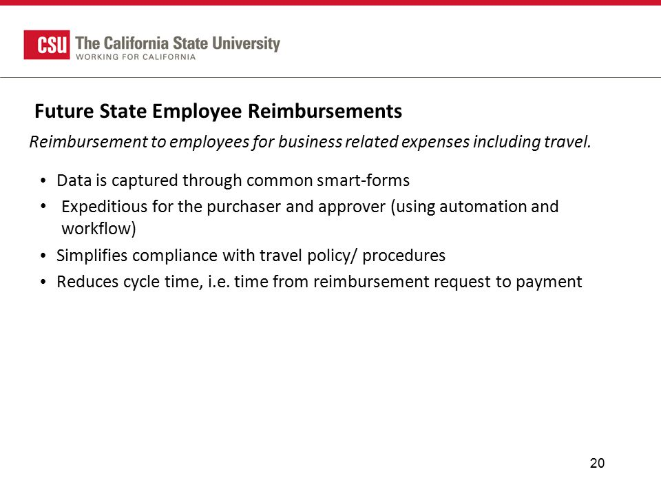 Future State Employee Reimbursements 20 Data is captured through common smart-forms Expeditious for the purchaser and approver (using automation and workflow) Simplifies compliance with travel policy/ procedures Reduces cycle time, i.e.
