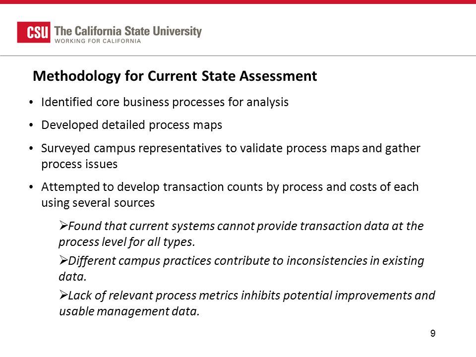 Methodology for Current State Assessment Identified core business processes for analysis Developed detailed process maps Surveyed campus representatives to validate process maps and gather process issues Attempted to develop transaction counts by process and costs of each using several sources  Found that current systems cannot provide transaction data at the process level for all types.