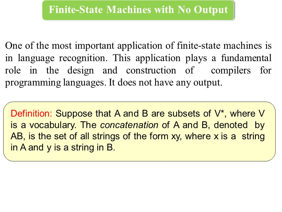 Finite-State Machines with No Output One of the most important application of finite-state machines is in language recognition.