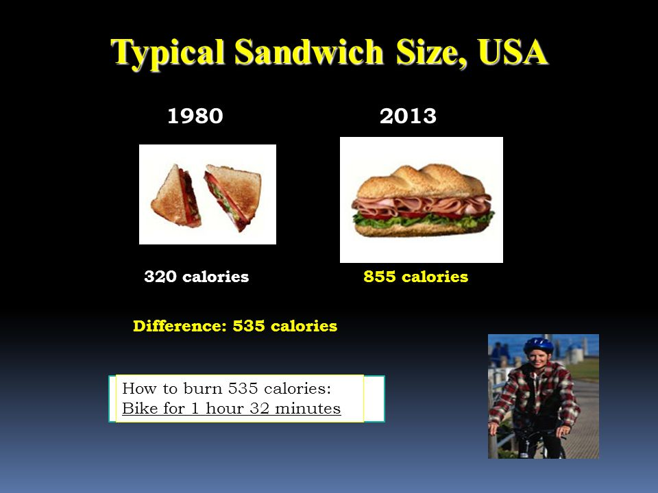 Typical Sandwich Size, USA 19802013 320 calories Difference: 535 calories How many calories are in this turkey sandwich.