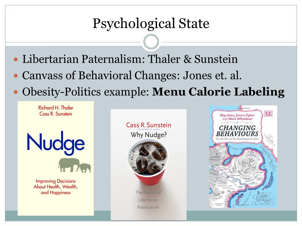 Psychological State Libertarian Paternalism: Thaler & Sunstein Canvass of Behavioral Changes: Jones et.
