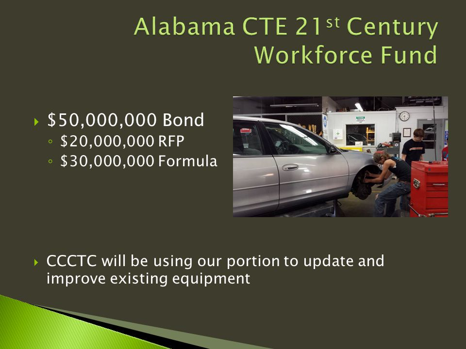  $50,000,000 Bond ◦ $20,000,000 RFP ◦ $30,000,000 Formula  CCCTC will be using our portion to update and improve existing equipment