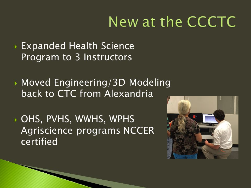  Expanded Health Science Program to 3 Instructors  Moved Engineering/3D Modeling back to CTC from Alexandria  OHS, PVHS, WWHS, WPHS Agriscience programs NCCER certified