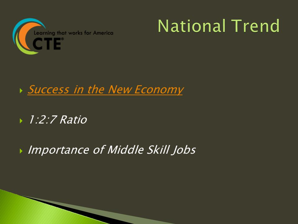  Success in the New Economy Success in the New Economy  1:2:7 Ratio  Importance of Middle Skill Jobs