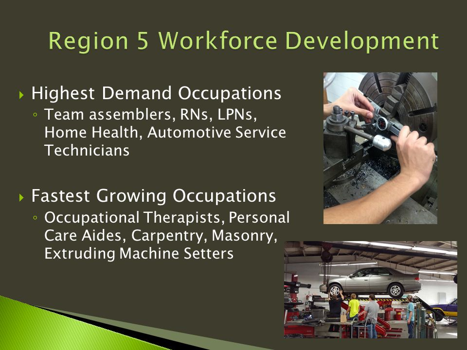  Highest Demand Occupations ◦ Team assemblers, RNs, LPNs, Home Health, Automotive Service Technicians  Fastest Growing Occupations ◦ Occupational Therapists, Personal Care Aides, Carpentry, Masonry, Extruding Machine Setters