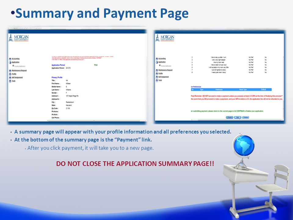 """A summary page will appear with your profile information and all preferences you selected. At the bottom of the summary page is the """"Payment"""" link. Af"""