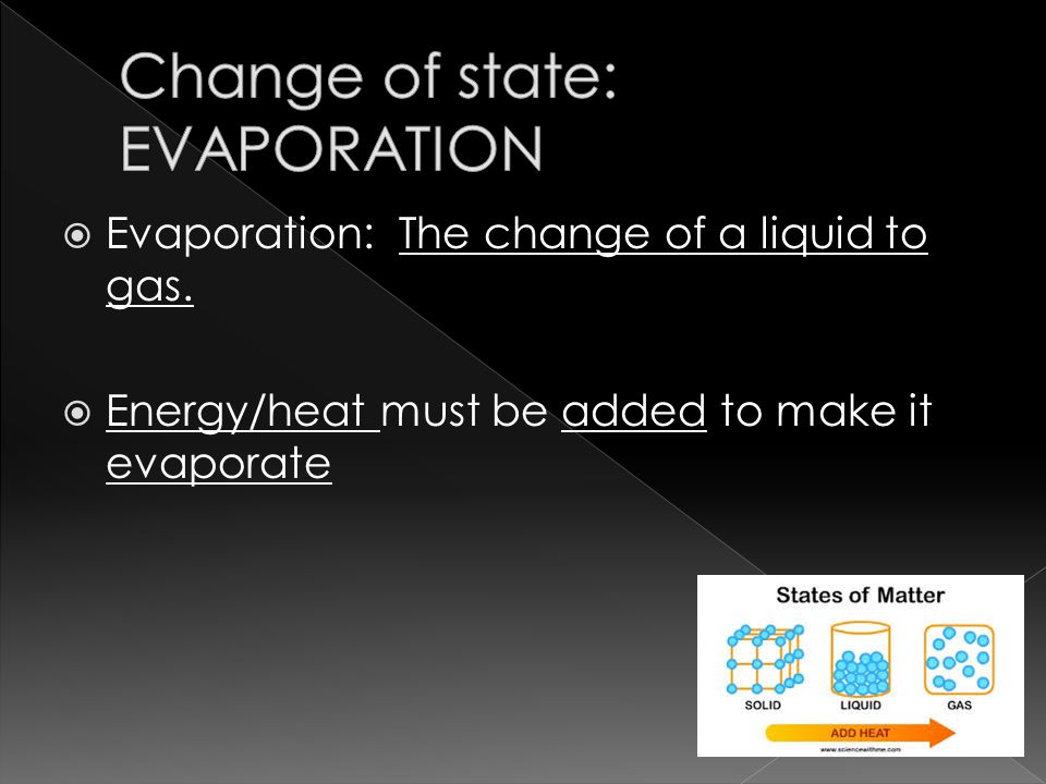  Evaporation: The change of a liquid to gas.  Energy/heat must be added to make it evaporate