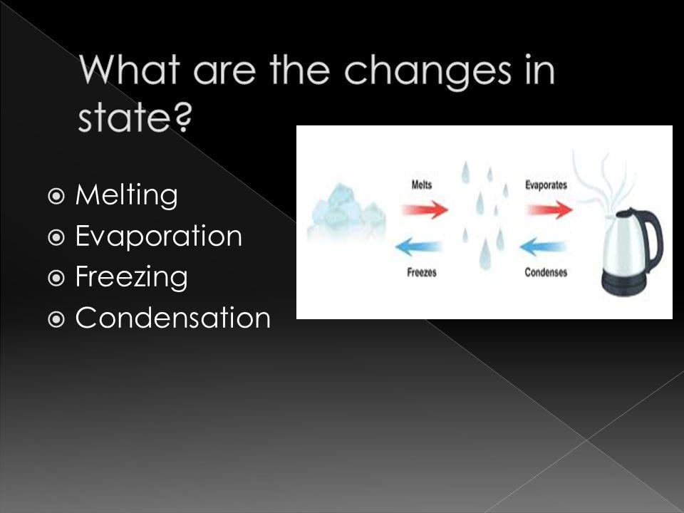  Melting  Evaporation  Freezing  Condensation