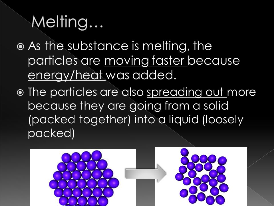  As the substance is melting, the particles are moving faster because energy/heat was added.