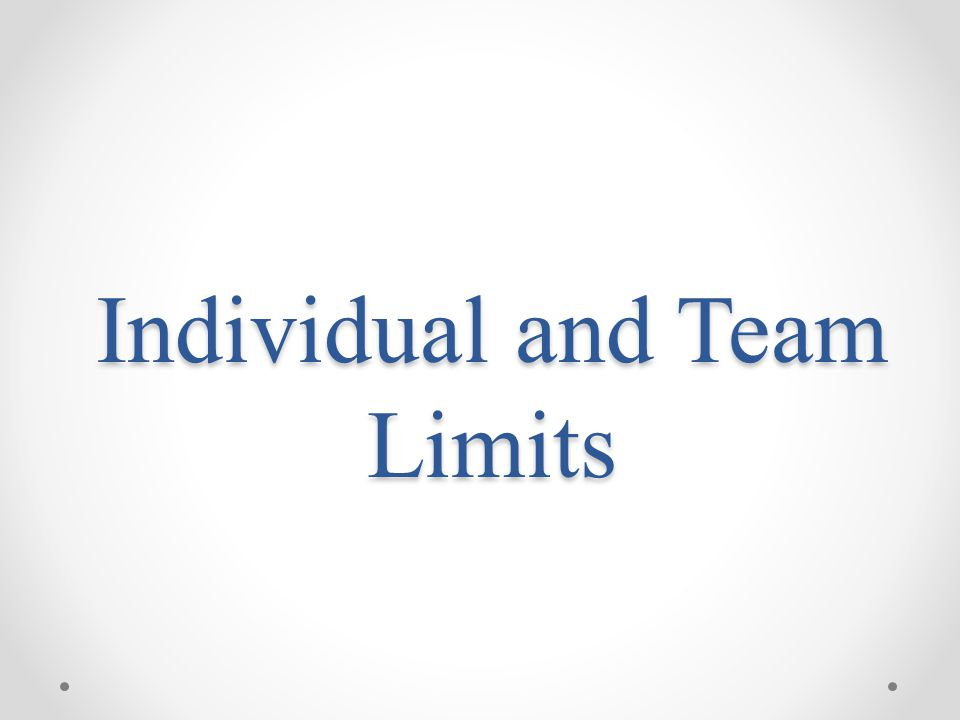 Individual and Team Limits