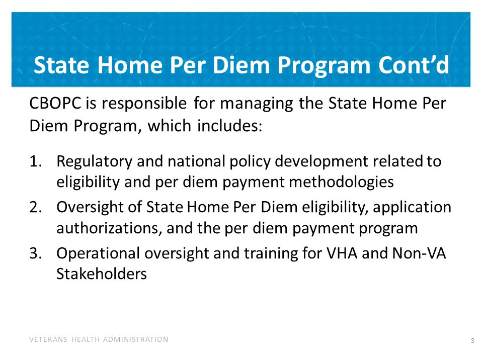 VETERANS HEALTH ADMINISTRATION State Home Per Diem Program Cont'd CBOPC is responsible for managing the State Home Per Diem Program, which includes :