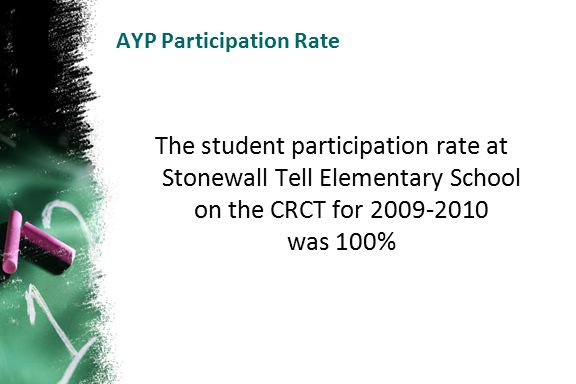 AYP Participation Rate The student participation rate at Stonewall Tell Elementary School on the CRCT for 2009-2010 was 100%