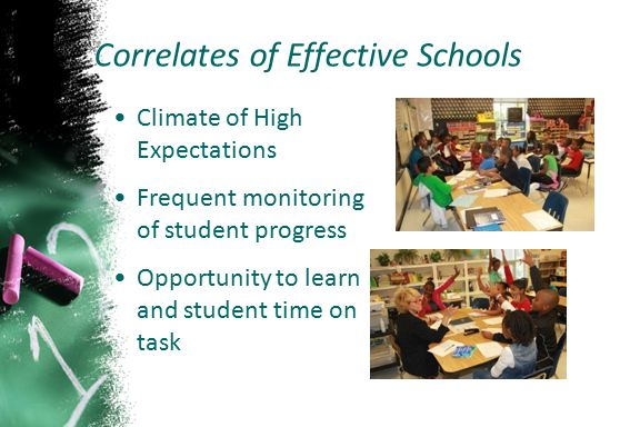Climate of High Expectations Frequent monitoring of student progress Opportunity to learn and student time on task Correlates of Effective Schools
