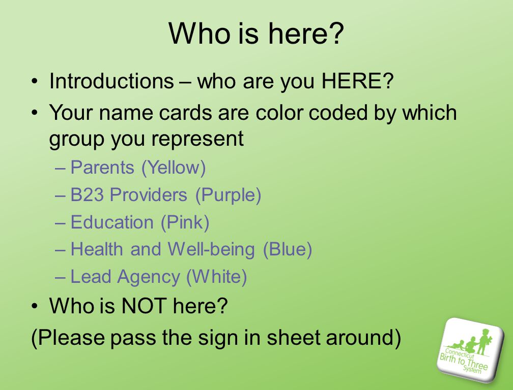 What do you need.Group Rules. Breaks. Handouts. Web site.