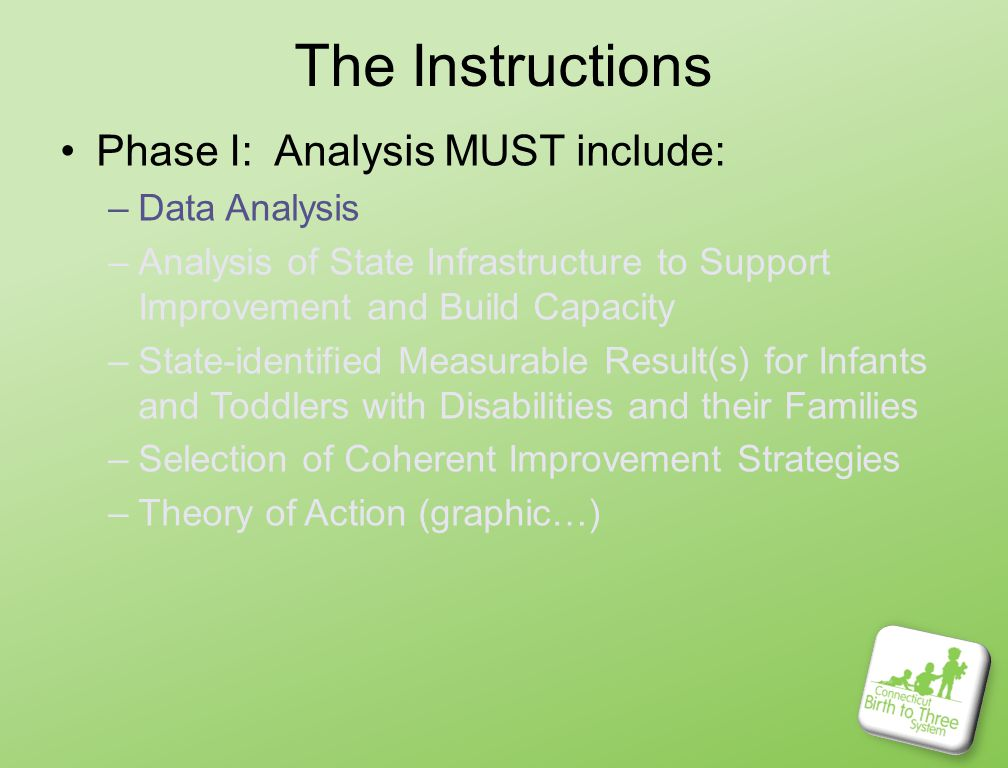 The Instructions Phase I: Analysis MUST include: –Data Analysis –Analysis of State Infrastructure to Support Improvement and Build Capacity –State-identified Measurable Result(s) for Infants and Toddlers with Disabilities and their Families –Selection of Coherent Improvement Strategies –Theory of Action (graphic…)
